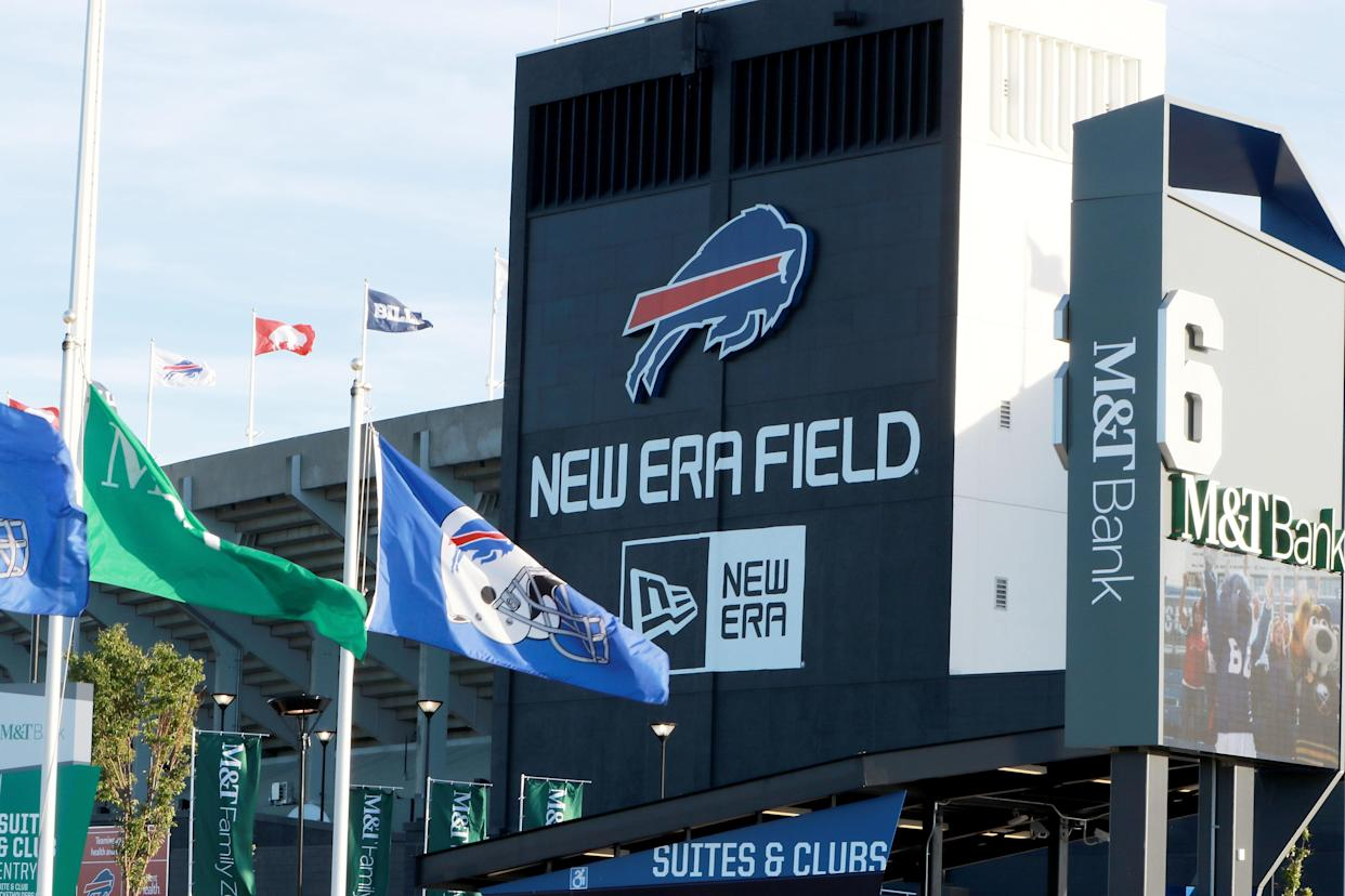 A Florida man was arrested for allegedly throwing a sex toy onto the field during the Bills' game against the Patriots on Monday night in Buffalo. (Getty Images)