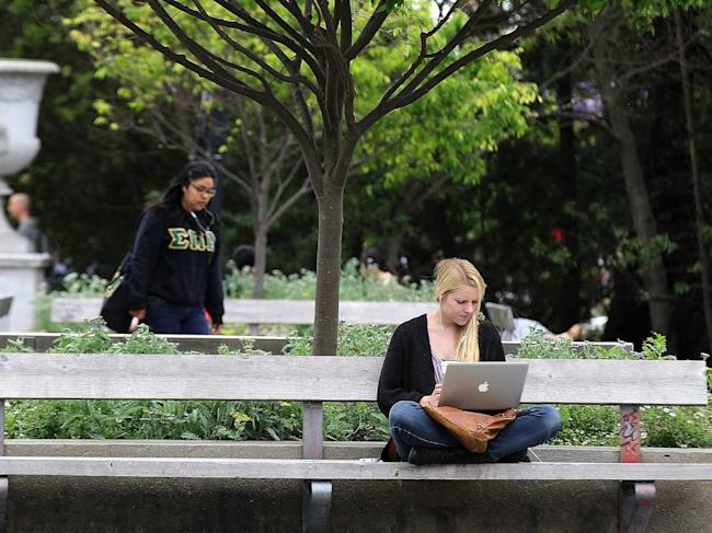 college students campus laptop