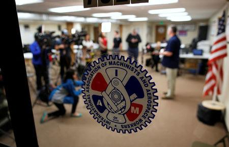Mike Evans (R), a group leader with the International Association of Machinists and Aerospace Workers, speaks to the media at IAM headquarters after workers rejected union representation at the Boeing South Carolina plant in North Charleston, South Carolina, U.S. February 15, 2017. REUTERS/Randall Hill