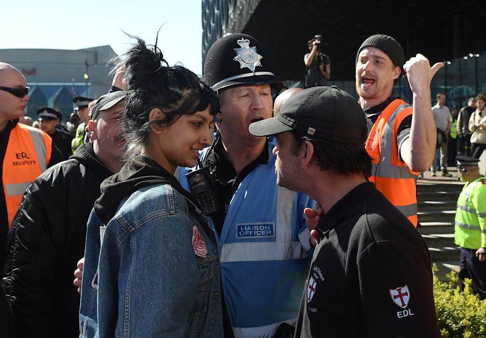 <strong>Saffiyah Khan facing down EDL protester Ian Crossland in Birmingham in April 2017</strong> (Photo: PA Archive/PA Images)