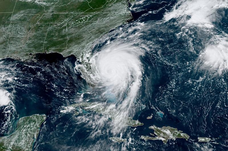Hurricane Dorianinches northwest away from the Bahamas as a Category 2 storm in this satellite image from the National Oceanic and Atmospheric Administration, taken Tuesday, Sept. 3.
