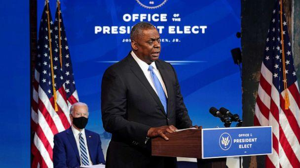 PHOTO: Retired General Lloyd Austin speaks after President-elect Joe Biden announced Austin as his nominee to be defense secretary during a news conference at his transition headquarters in Wilmington, Del., Dec. 9, 2020. (Kevin Lamarque/Reuters)