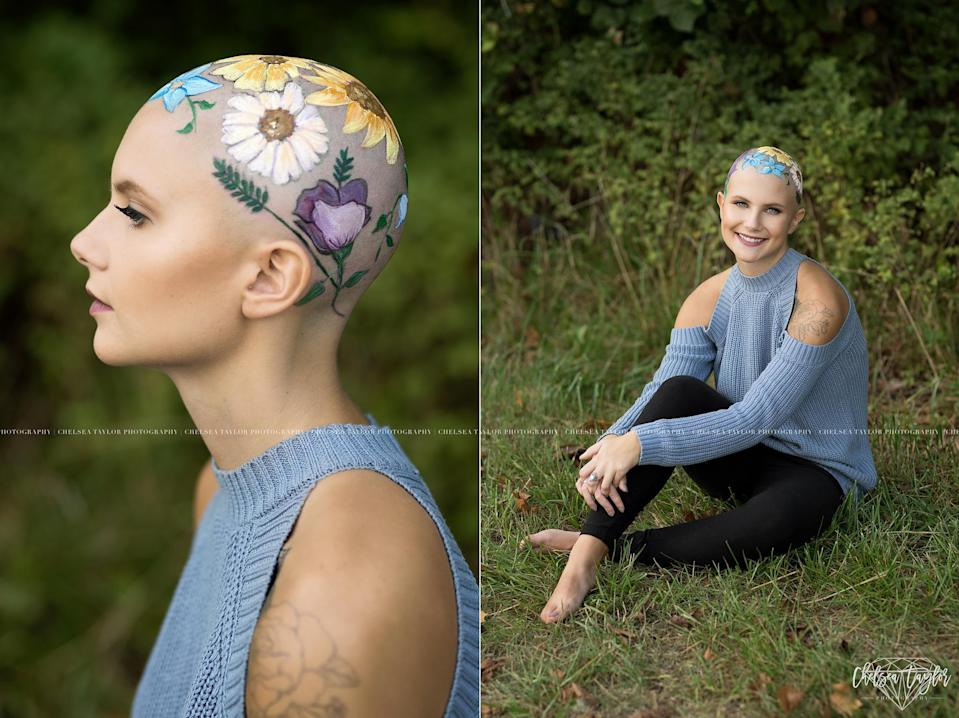 Madisyn Babcock decorated her head to illustrate her blossoming self. (Photo: Chelsea Taylor Photography)