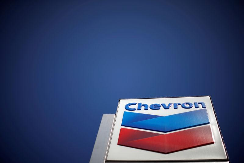 FILE PHOTO - Dow Jones Industrial Average listed company Chevron (CVX)'s logo is seen in Los Angeles