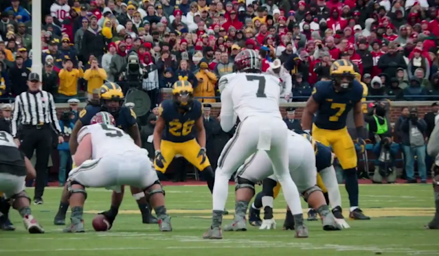 This mic'd moment from the Michigan-Ohio State game features a classic Harbaugh flip-out