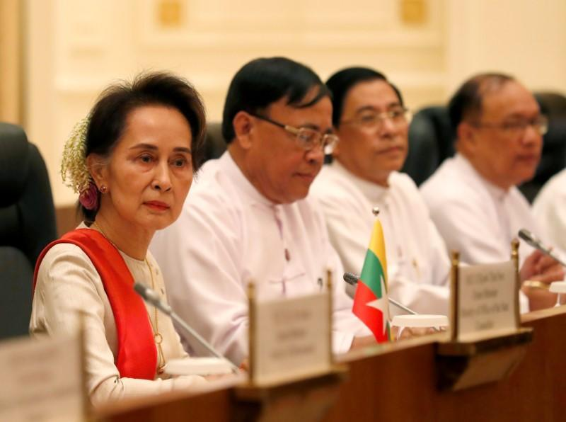 Myanmar State Counselor Aung San Suu Kyi attends the bilateral meeting with Chinese President Xi Jinping (not pictured) at the Presidential Palace in Naypyitaw