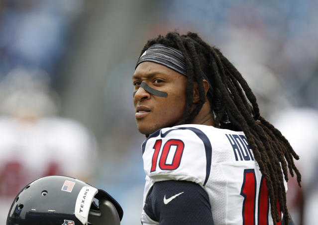DeAndre Hopkins uses his jersey number to highlight a system that promotes disparate prison sentencing for black Americans. (AP Photo/Weston Kenney, File)