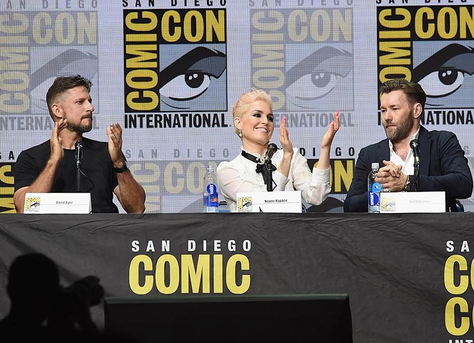 <p>Director David Ayer, Noomi Rapace, and Joel Edgerton at Netflix Films Comic-Con panel on July 20, 2017, in San Diego. (Photo: Kevin Winter/Getty Images) </p>