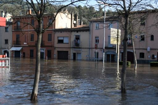 A flooded street in Sarria de Ter, Catalonia on Thursday