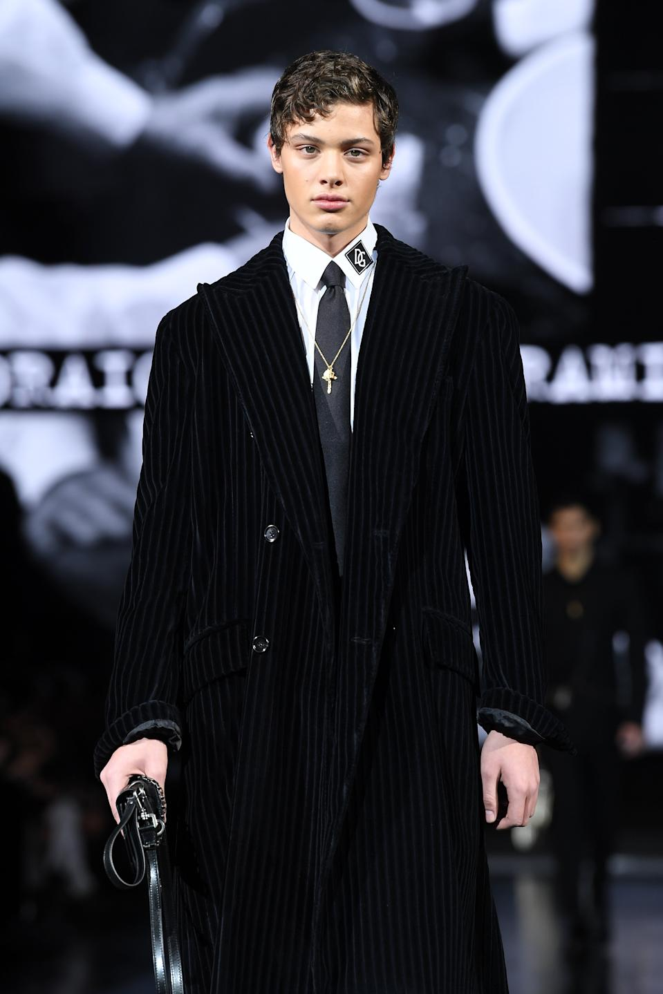 Bobby Brazier walks the runway at the Dolce e Gabbana fashion show on January 11, 2020 in Milan, Italy. (Photo by Daniele Venturelli/Daniele Venturelli/WireImage )