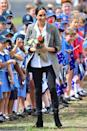 """<p>She opted for a AU$203 grey blazer from the tennis champ's brand Serena Williams Collection, which she paired with $200 Aussie jeans by <a rel=""""nofollow noopener"""" href=""""https://www.outlanddenim.com.au/women/"""" target=""""_blank"""" data-ylk=""""slk:Outland Denim"""" class=""""link rapid-noclick-resp"""">Outland Denim</a> and a white shirt from Frech label Maison Kitsune. Photo: Getty </p>"""