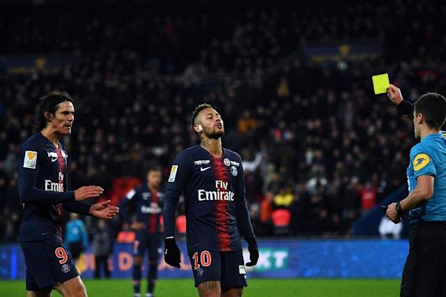 It was a frustrating night for Edinson Cavani, Neymar and PSG as they went out of the League Cup against Guingamp (AFP Photo/Anne-Christine POUJOULAT)