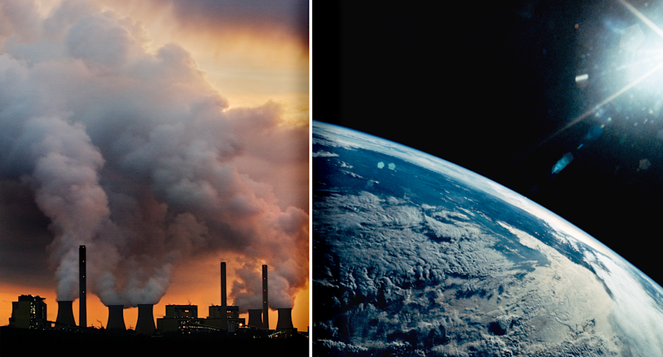 Smoke stacks emitting fossil fuel are pictured on the left. An aerial view of the Earth from space with a bright light is pictured on the right.