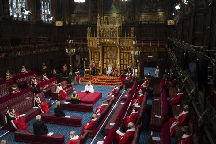 The State Opening of Parliament takes place with a reduced capacity due to Covid-19 restrictions. The State Opening of Parliament is where Queen Elizabeth II performs her ceremonial duty of informing parliament about the government's agenda for the coming year in a Queen's Speech. / Credit: EDDIE MULHOLLAND/POOL/AFP via Getty Images