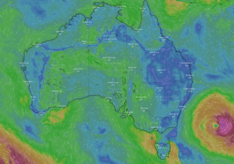 A weather map of Australia shows wind movement with ex-cyclone Uesi off the southeast coast.