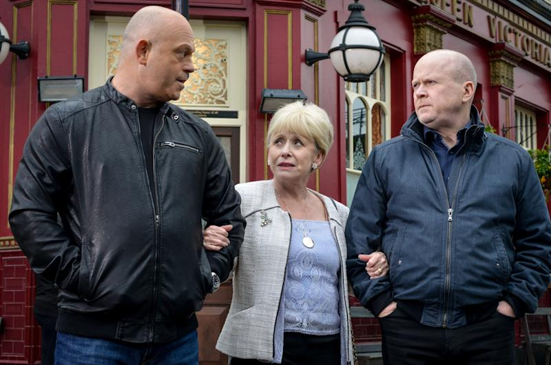Barbara Windsor acted in the soap Eastenders: Pictured with her onscreen sons (BBC/Kieron McCarron)