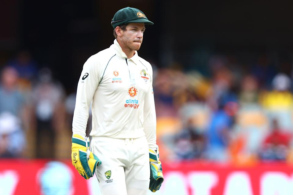 Australia's captain Tim Paine looks on between the overs on day five of the fourth cricket Test match between Australia and India.