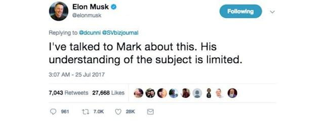 Elon Musk's tweet in response to an article about Zuckerburg's critique of his stance on AI.