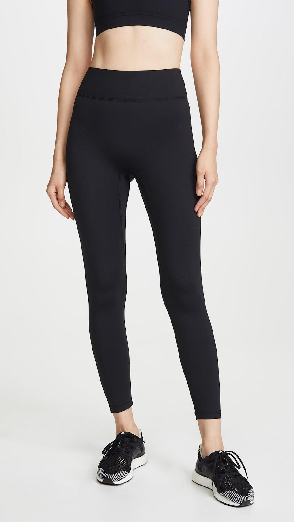"""<p>""""For me, my ultimate pet peeve is leggings that aren't versatile. I like to do lots of different workouts, and I want to know that if I reach into my drawer and pull out a pair, they'll hold up in Pilates or Spin class. That's why I'm obsessed with the <span>All Access Center Stage Leggings</span> ($98).</p> <p>Here's why I love these leggings so much: the fit is incredible, and they hold you in without feeling heavy or restrictive, as some other compression leggings tend to do. They're breathable, so great for sweaty activities, but not so light that they're out of the question in the winter. They're high waisted but don't come up to your rib cage. The waistband is thick but comfortable, so they don't budge no matter what you're doing. In short, these leggings are perfect, and they're worth every penny because I wear them so often."""" - IY</p> <p>Read the full <a href=""""https://www.popsugar.com/fitness/all-access-center-stage-leggings-review-47114367"""" class=""""link rapid-noclick-resp"""" rel=""""nofollow noopener"""" target=""""_blank"""" data-ylk=""""slk:All Access Center Stage Leggings review"""">All Access Center Stage Leggings review</a>.</p>"""