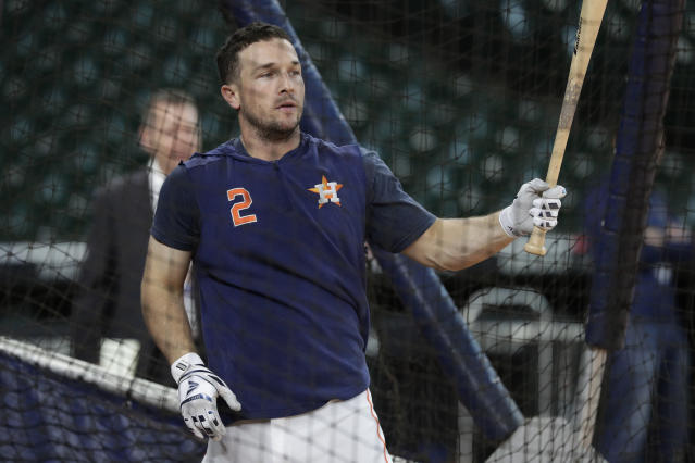 Houston Astros' Alex Bregman takes batting practice during a workout for a baseball American League Championship Series in Houston, Friday, Oct. 11, 2019. Houston will face the New York Yankees, Saturday. (AP Photo/Eric Gay)