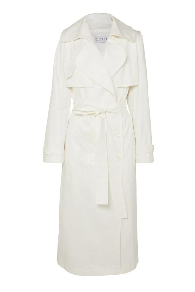 "<p><a class=""body-btn-link"" href=""https://www.net-a-porter.com/gb/en/product/1136542/ochi/belted-cotton-blend-gabardine-trench-coat"" target=""_blank"">SHOP NOW </a></p><p>Meghan wore a white dressing gown coat from Toronto-based label Line for the <a href=""https://www.harpersbazaar.com/uk/bazaar-brides/g13932803/prince-harry-and-meghan-markles-engagement-photocall-in-pictures/"" target=""_blank"">official engagement announcement at Kensington Palace</a>. Channel her classic style with this white tie-up trench.</p><p><em>Coat, £420, Ochi at <a href=""https://www.net-a-porter.com/gb/en/product/1136542/ochi/belted-cotton-blend-gabardine-trench-coat"" target=""_blank"">Net-A-Porter</a> </em></p>"