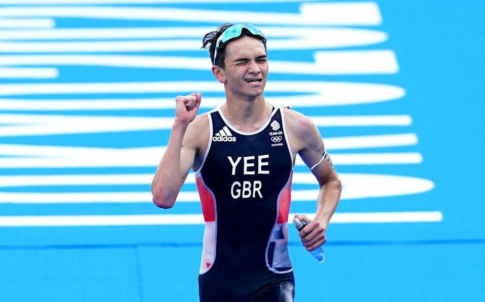 Alex Yee crosses the line to claim silver - PA