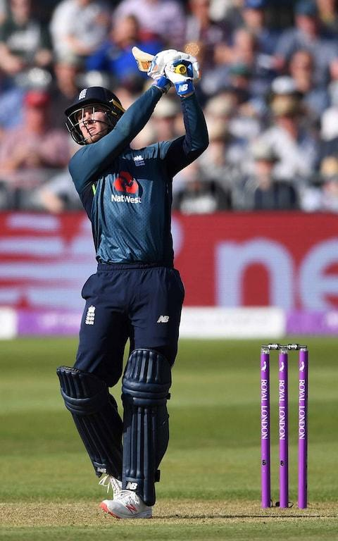 Jason Roy of England hits out for six runs - Credit: Getty Images