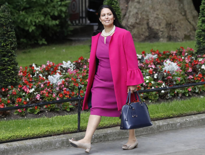 Priti Patel, Secretary of State for International Development, arrives for a cabinet meeting after the general election in London, Monday, June 12, 2017.(AP Photo/Frank Augstein)