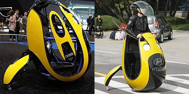 Hyundai decided it's time to change all this, and at the Seoul Motor Show, its engineers unveiled a moveable egg concept that promises speeds faster than a Segway, and a strange helmet that makes you look far cooler than any skateboarder could ever dream.