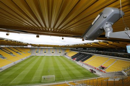 General view of a GoalControl goal line technology (GLT) high-speed camera at the Tivoli stadium during a demonstration of the GLT in the western German city of Aachen May 28, 2014. REUTERS/Wolfgang Rattay