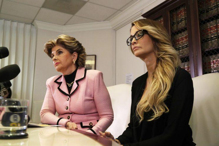 Attorney Gloria Allred and Trump accuser Jessica Drake speak to reporters in Los Angeles on Oct. 22. (Photo: Ryan Kang/AP)
