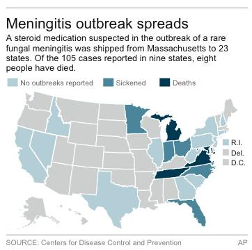 Map shows states affected by the meningitis outbreak and those receiving suspected tainted medications.