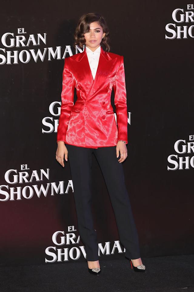 <p>Zendaya looked like a real ringmaster at the film's Mexico premiere in a full Ralph Lauren Fall 2017 ensemble. (Photo: Getty Images) </p>