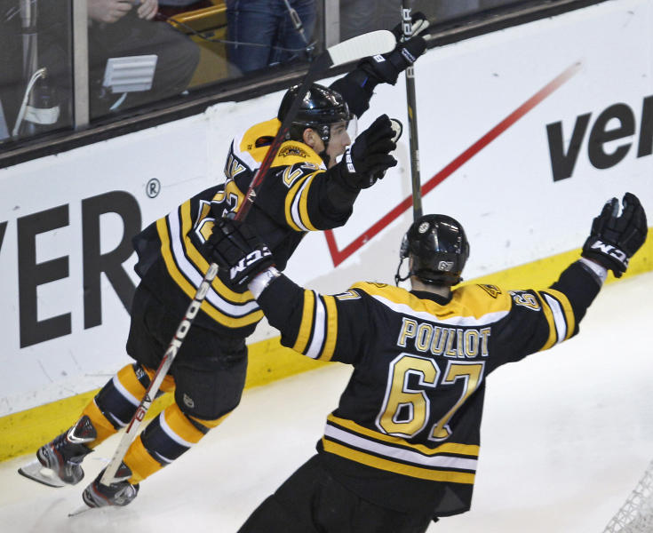 Boston Bruins center Chris Kelly (23) celebrates his game-winning goal against the Washington Capitals with teammate Benoit Pouliot in overtime of Game 1 of an NHL hockey Stanley Cup first-round playoff series in Boston, Thursday, April 12, 2012. The Bruins won 1-0. (AP Photo/Charles Krupa)