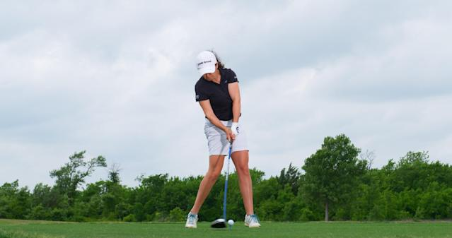 "<p><strong>No resistance</strong></p> <p>""Continuing to rotate her body through the shot allows the arms to stay out in front of her upper body, releasing naturally,"" Triggs says. Another indication she's not trying to hold off the finish of the swing is how her head rotates down the target line. ""When that happens, the body releases better.""</p>"