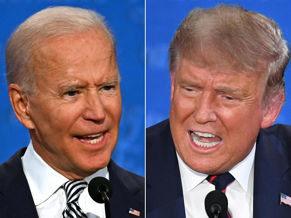 Donald Trump on Joe Biden: 'He's shot, folks!' (AFP via Getty Images)