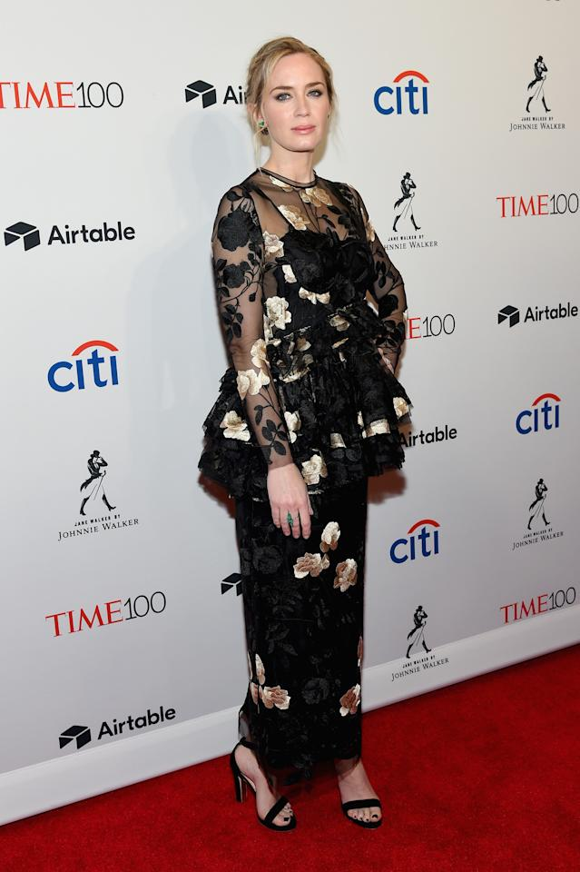 <p>Emily wowed in a peplum column dress by Brock Collection at the annual awards in April 2018. <em>[Photo: Getty]</em> </p>