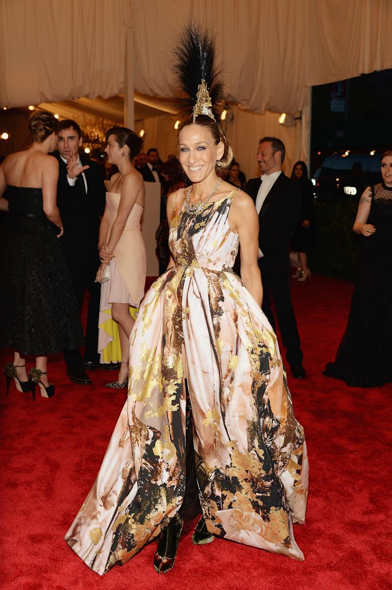 """Sarah Jessica Parker attends the Costume Institute Gala for the """"PUNK: Chaos to Couture"""" exhibition at the Metropolitan Museum of Art on May 6, 2013 in New York City. (Photo by Dimitrios Kambouris/Getty Images)"""
