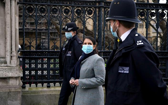 Home Secretary Priti Patel told Tory supporters that she argued for the UK border to be shut to international visitors in March when the pandemic first emerged. - PA
