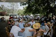All the guests enjoyed our garden-chic brunch under the shadow of the imposing plantain tree. By 2:00 p.m., everybody was in the swimming pool.