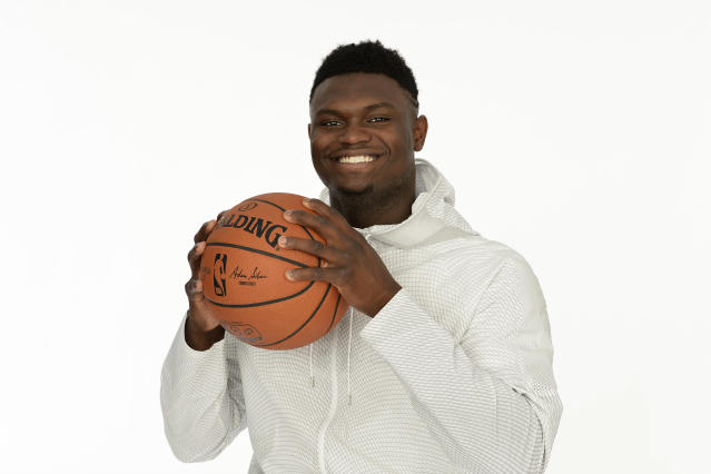 CHICAGO, IL - MAY 14: Zion Williamson poses for a portrait at the 2019 NBA Draft Combine on May 14, 2019 at the Chicago Hilton in Chicago, Illinois. (Photo by David Dow/NBAE via Getty Images)