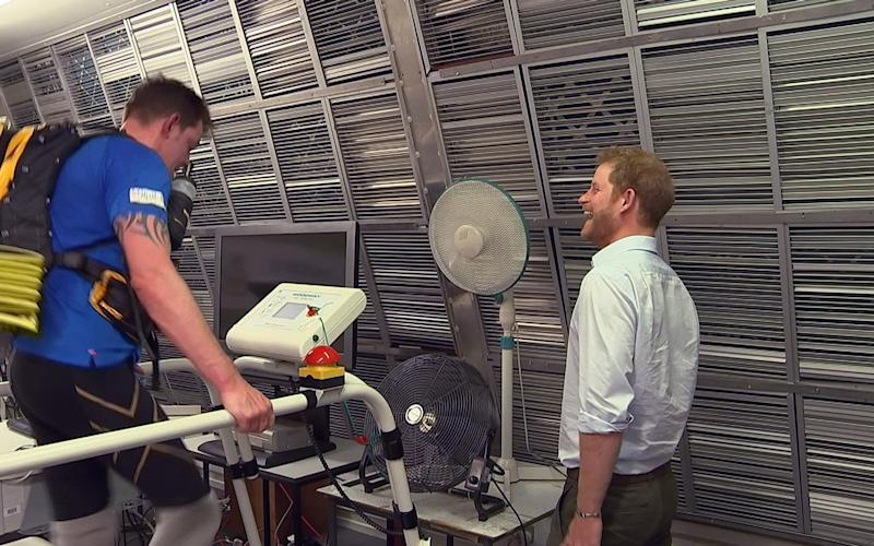 Prince Harry (right) with double amputee Duncan Slater who is preparing to run the Marathon des Sables later this month - Credit: ITV News/PA