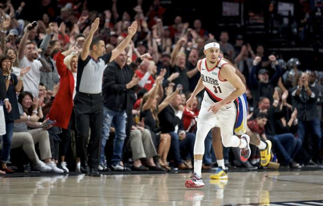 Seth Curry knocked down 45 percent from 3-point land during his lone season with the Portland Trail Blazers. (AP Photo/Craig Mitchelldyer)