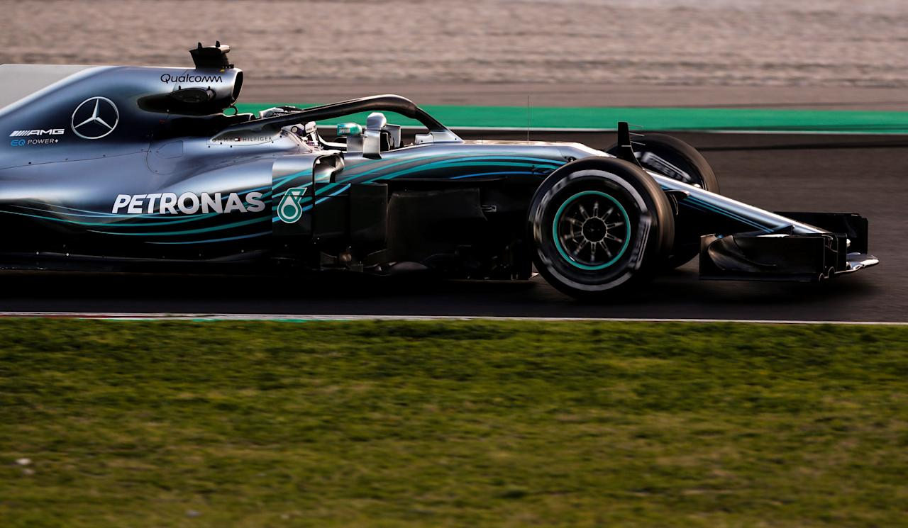 FILE PHOTO: Motor Racing - F1 Formula One - Formula One Test Session - Circuit de Barcelona-Catalunya, Montmelo, Spain - March 7, 2018. Lewis Hamilton of Mercedes during testing. Picture taken March 7, 2018. REUTERS/Juan Medina/File photo