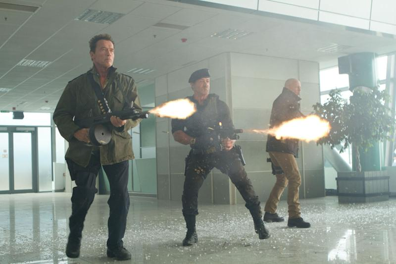 Arnie, Sly and Bruce in action in 'The Expendables 2' (credit: Lionsgate)