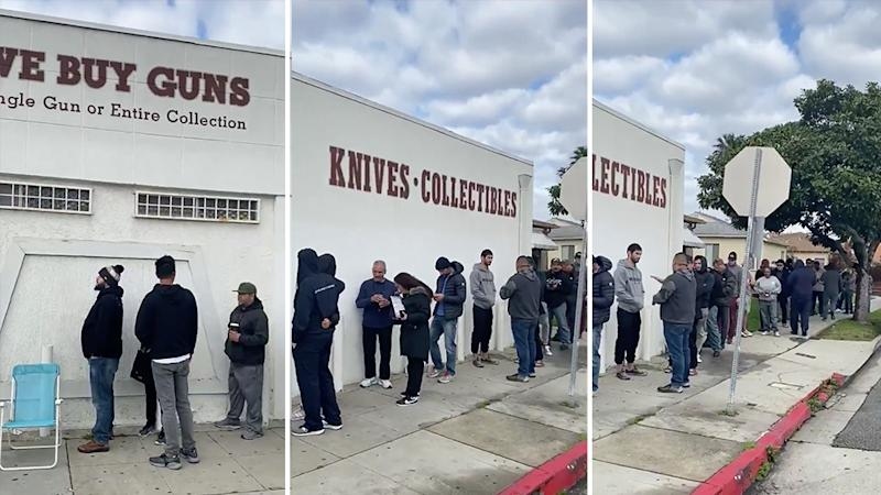 Picture of AMericans lining up outside a gin store in Los Angeles