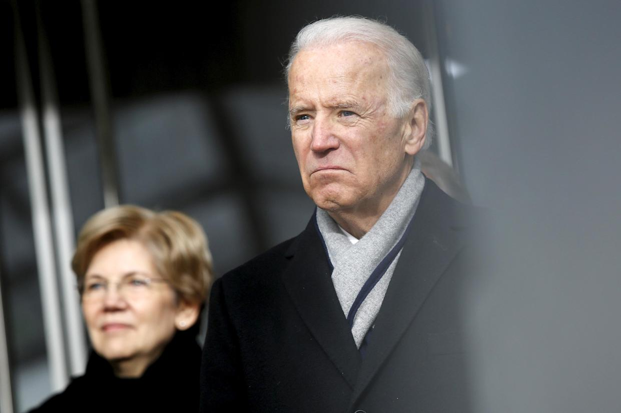 Warren and Biden at the dedication ceremony for the Edward M. Kennedy Institute for the United States Senate, March 30, 2015. (Photo: Jonathan Ernst/Reuters)