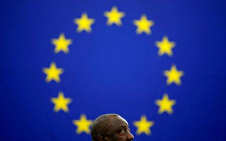 South African President Ramaphosa arrives to address the European Parliament in Strasbourg