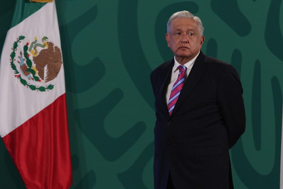 MEXICO CITY, MEXICO - JULY 8, 2021: Mexicos President Andres Manuel Lopez Obrador gesticulates while offers a speech to media at National Palace on July 8, 2021 in Mexico City, Mexico. (Photo credit should read Ismael Rosas/ Eyepix Group/Barcroft Media via Getty Images)