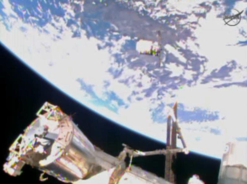 In this image from video provided by NASA the Cygnus resupply spacecraft approaches the International Space Station early Sunday Jan. 12, 2013. The spacecraft is expected to arrive on the station later this morning. It is packed with 3,000 pounds of equipment and experiments provided by NASA, as well as food and even some ants for an educational project. Christmas presents also are on board for the six space station residents; the delivery is a month late. (AP Photo/NASA)